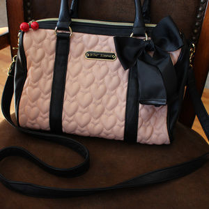 Betsey Johnson Quilted Heart Blush & Black Bag
